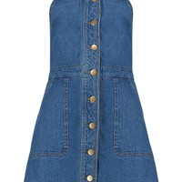 Teresa Buttoned Pocket Denim Pinafore Dress | Boohoo