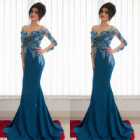 2017 Delicate 3D-Floral Appliques Arabic Evening Dresses Sheer Neck Beaded Long Sleeves Satin Mermaid Prom Dresses Party Gowns