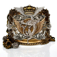 Slave Bracelet Steampunk Dragon Gothic Fantasy Women Jewelry - 2 in 1 Bracelet
