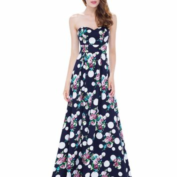 Navy Blue Evening Party Dress Ever Pretty EP08973NB Women Sexy Strapless A Line Long Dress 2017 New Arrival Plus Sizes