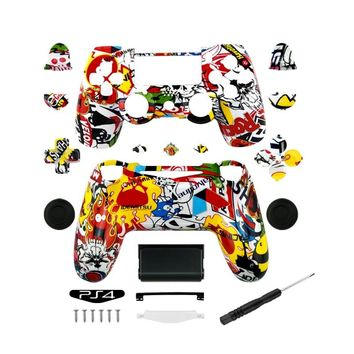 New arrival Custom Hydro Dipped Sticker Bomb Shell case for Sony PlayStation 4 PS4 dualshock 4 Wireless Controller with Buttons