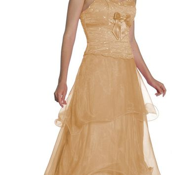 CLEARANCE LIMITED STOCK - Gold Prom Gown Strapless Sweetheart Beaded Bodice Bow Organza Dress