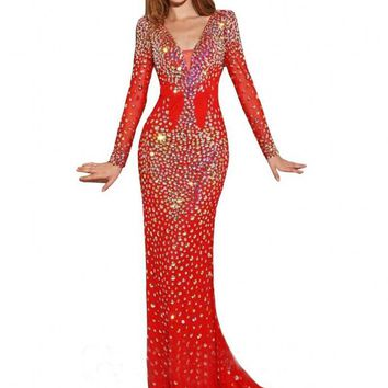 Gorgeous Luxury Crystal Mermaid Royal Blue Long Sleeve Evening Dresses Prom Gowns Party Dresses