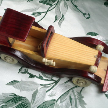 Wooden Car Cabriolet Handmade Natural Toy Toy car Children Natural Organic Wood Motor Vehicle Wooden Toy Collectible Gift for Boys