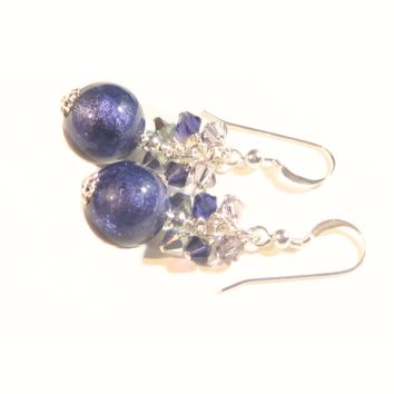 Italian Murano Glass Plum Purple Crystal Cluster Sterling Silver Earrings
