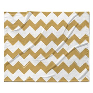 "KESS Original ""Candy Cane Gold"" Chevron Fleece Throw Blanket"