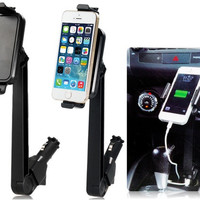 360 Degrees Rotating Universal Mobile Phone & Tablet PC Car Mount Holder with Dual USB Ports & Indicator Light (Black)