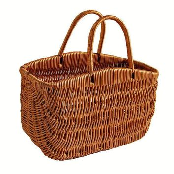 Wicker Bag, Wicker Market Basket, Woven Portable Basket, Shopping Bag, French Basket, Throw Basket, FREE SHIPPING