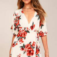 Orchard Fresh Cream Floral Print Wrap Dress