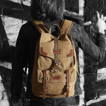 European and American Style Drawstring Backpack Men Back Pack Vintage Canvas Backpack School Bag College Student Notebook Bag