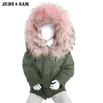 Fashion Kids Parka Army Green Jacket Warm Winter Real Raccoon Fur Hood Faux Fur Lined 100% Cotton Coat Long Sleeves