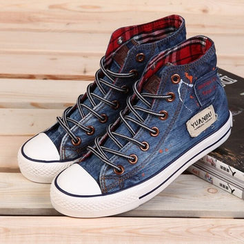 Hot Sale High Quality Classic Canvas Shoes Washed Denim Womens High Shoes Flat Casual Sneakers = 1930320644