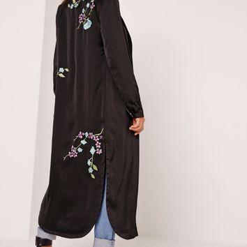 Missguided - Oriental Embroidered Duster Jacket Black