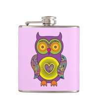 Purple Psychedelic Owl Flask