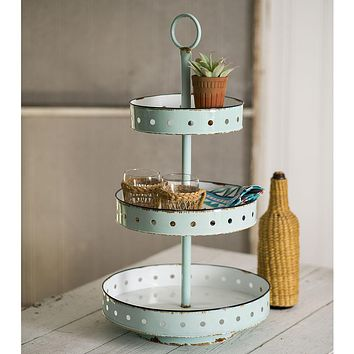 Rustic Colorful  3 Tier Metal Round Maribelle  Display Tray