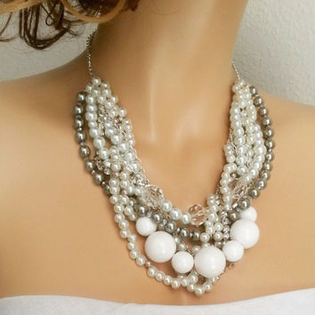 Wedding Chunky Necklace, White Bridal Statement Necklace, Grey White Bridesmaid Necklace, Bridal Bib Necklace, CLAIRE