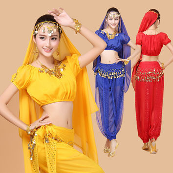 4pcs Belly Dance Costume Bollywood Costume Indian Gypsy Dress Bellydance Dress Womens Belly Dancing Costume Sets Tribal Skirt