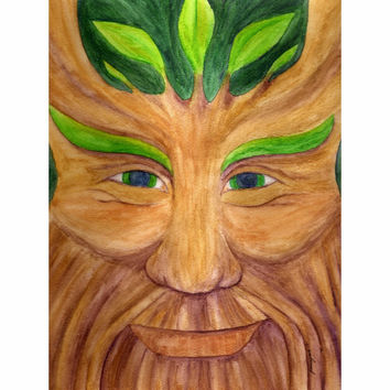 Green Man - Professional Prints of Pagan God Watercolor Pencil Fine Art