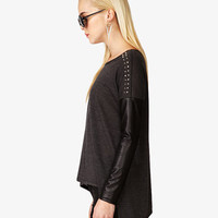 Studded Faux Leather Dolman Top | FOREVER 21 - 2054663307