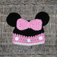 Crochet Minnie mouse hat - Baby girl hat - Disney hat