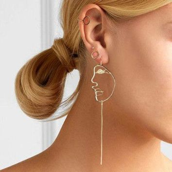 DKLW8 Abstract Art Stylish Gold/Silver Face Statement Dangle Earrings Girls Fashion Trend Bar Long Earrings For Women Bijoux 2017