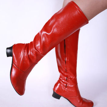 CHRISTMAS SALE - 1960s Vintage Go Go Boots - Burnt Orange Vinyl Gogo Boots Size 7 7.5