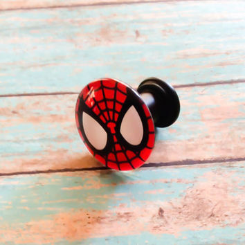 Spiderman Drawer dresser knobs pulls Spiderman Logo Spiderman Bedroom Decor Spiderman Bathroom Cabinet pulls knobs