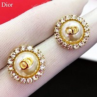 Dior Fashion new letter pearl diamond earring women accessory Golden