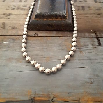Big Silver Metal Ball Bead Chain Necklace
