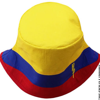 Colombia Flag Bucket Hat | Colombian Hat | Colombian Flag | Colombia Stripe Hat | Patchwork Stripe | Yellow Blue Red Hat by Hamlet Pericles