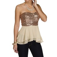 Taupe Chiffon And Sequin Peplum Top