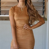 Upper Manhattan Tan Suede Shift Dress