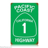 Pacific Coast Highway Route 1 California State Road Sign | RetroPlanet.com