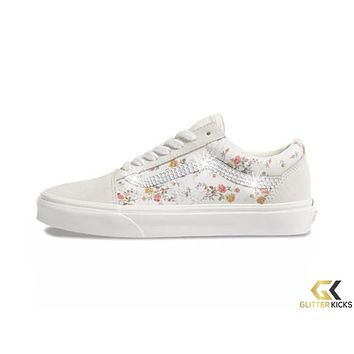 Womens Vans Vintage Old Skool + Crystals - Floral/Marshmellow