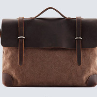 Unisex Superior Genuine Cow Leather Canvas Bag / Briefcase / Messenger Bag / Canvas Bag / Laptop Bag / Leather Satchel in Taupe