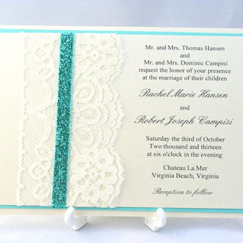 Lace Sparkle Wedding Invitation with Glitter Ribbon Overlay - Sample