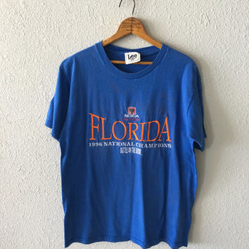 1996 Florida Gators National Champions Battle on the Bayou Vintage UF Florida Gators 1990's National Champions Embroidered T Shirt