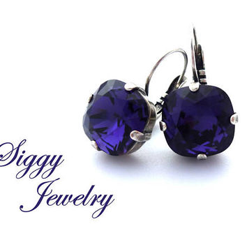 Swarovski Crystal Earrings, Purple Velvet 8mm-12mm, Round Or Cushion Cut, Studs Or Drops, Assorted Finishes and Styles, Bridesmaids Gift