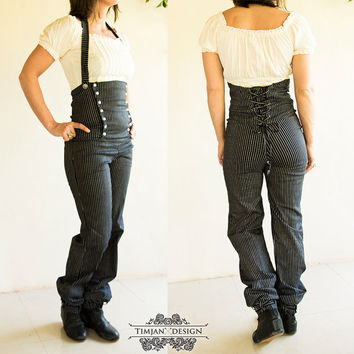 Sale - MAHOGANY STEAMPUNK PANTS - Sailor Hippie Boho Steam punk Burning man Burlesque Organic Trousers Suspender Halloween costume - Stripy