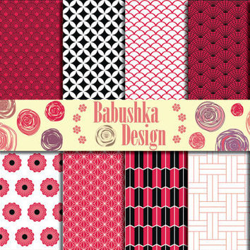 Japanese patterns - Red and Black - Set of 12 Digital Paper  - 12 x 12 inches - Scrapbook, Web design, Card making