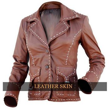 Leather Skin Brown Women Ladies Genuine Leather Jacket with White Linning