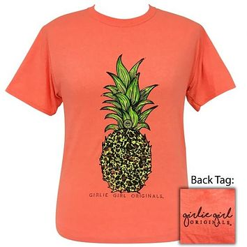 Girlie Girl Originals Preppy Leopard Pineapple Coral T-Shirt