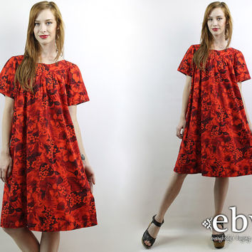 Vintage 70s Red Hawaiian Floral Party Dress S M L Hawaiian Dress Summer Dress Floral Mini Dress Luau Dress Tent Dress Red Dress 70s Dress