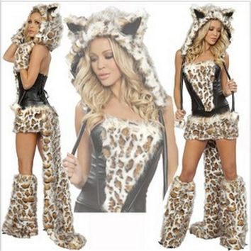 Sexy Leopard Plush models cat girl Halloween Costume women Dress Cosplay uniform sexy  clothing Animal Womens CostumesKawaii Pokemon go  AT_89_9