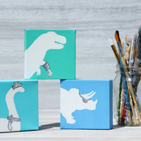"Small Dinosaur Pirate Painting, Brontosaurus Silhouette / Acrylic Painting on 4"" x 4"" Canvas"