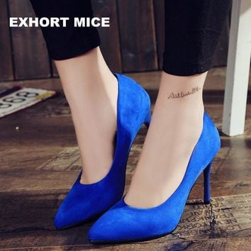 2017 HOT Women Shoes Pointed Toe Pumps Suede Leisure Dress Shoes High Heels Boat Weddi