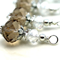 Smokey Topaz and Clear Crystal Bead Drop Dangle Charm Set