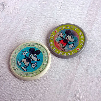Vintage mirror brooch Mickey Mouse Retro pin Cartoon character Metal Soviet Pin Badges Walt Disney left souvenir Collectibles Memorabilia