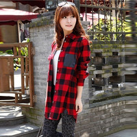 Women Scottish Tartan Plaid Tops Check Lapel Loose Long Sleeve Blouse Shirt S/M/L/XL/XXL = 1929687876