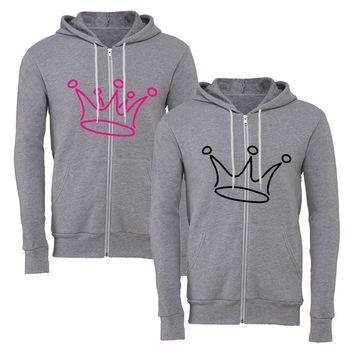 king for him for her matching couple zipper hoodie